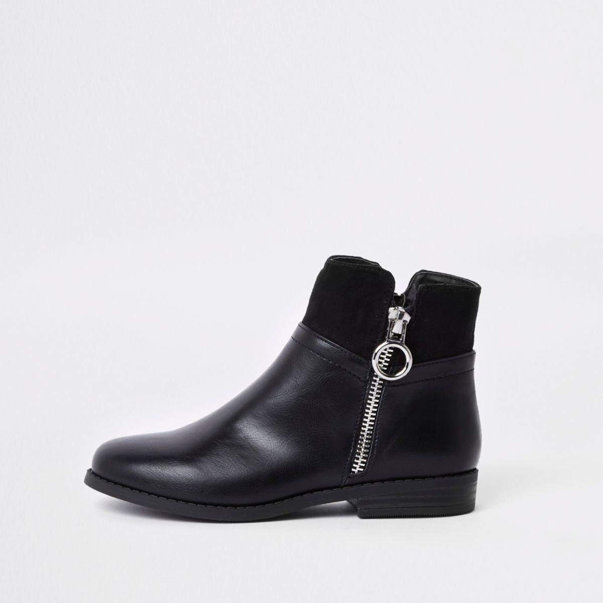 Bottes noires zippées sur le côté pour fille