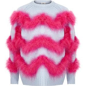 Girls blue feather trim knit jumper