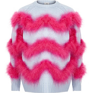 Girls blue feather trim knit sweater