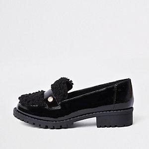 Zwarte lakleren loafers met imitatiebont voor meisjes