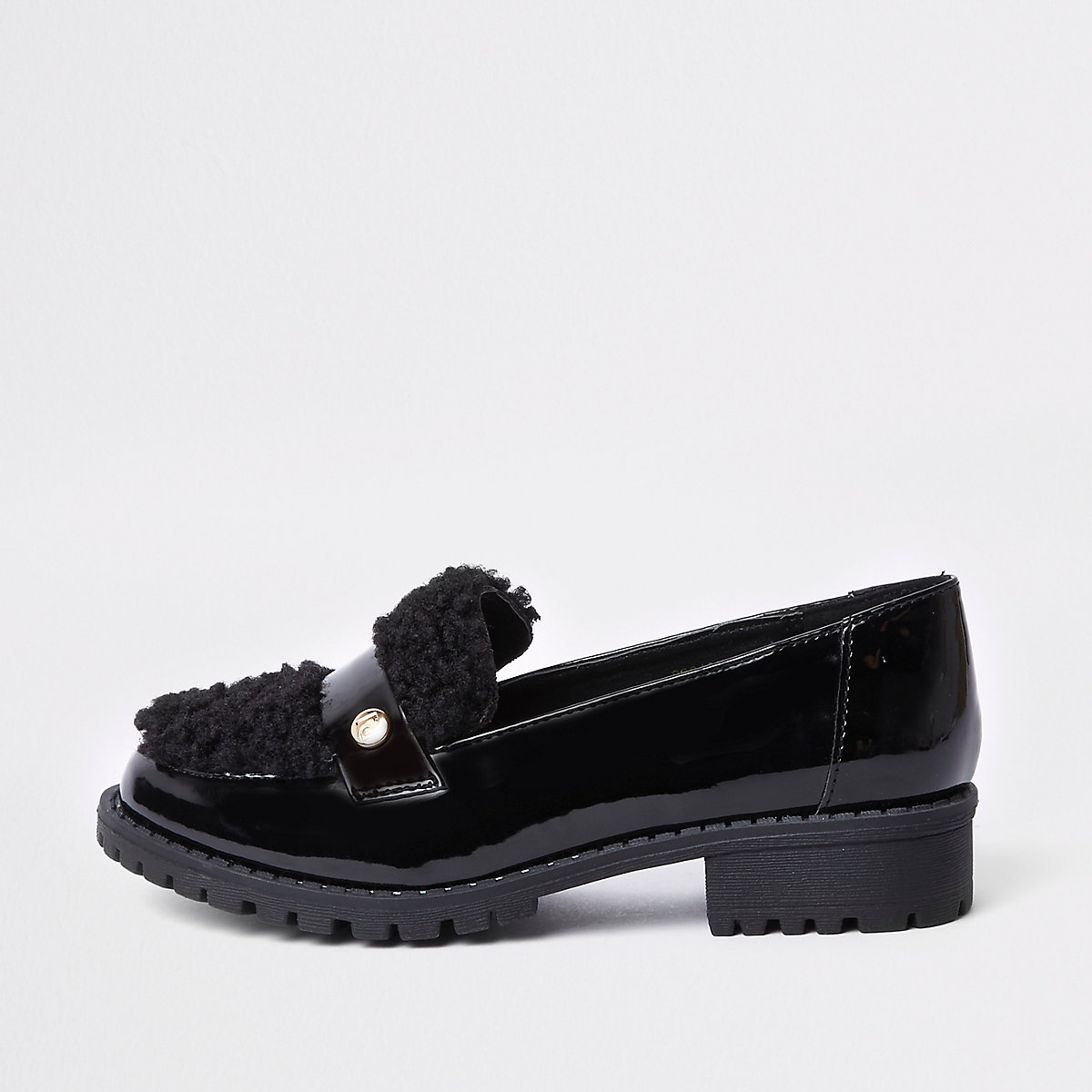 Girls black patent faux fur loafers