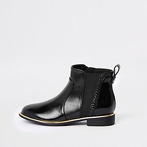 Girls black croc panel patent boots
