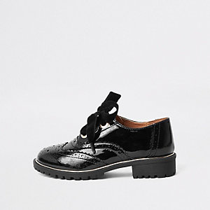 Girls black patent eyelet brogue shoes