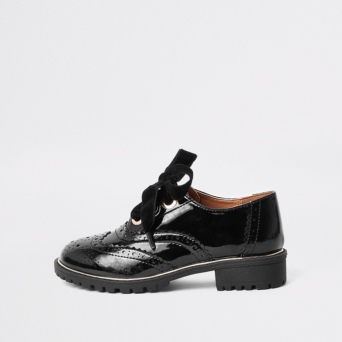 Girls black patent eyelet brogue shoes