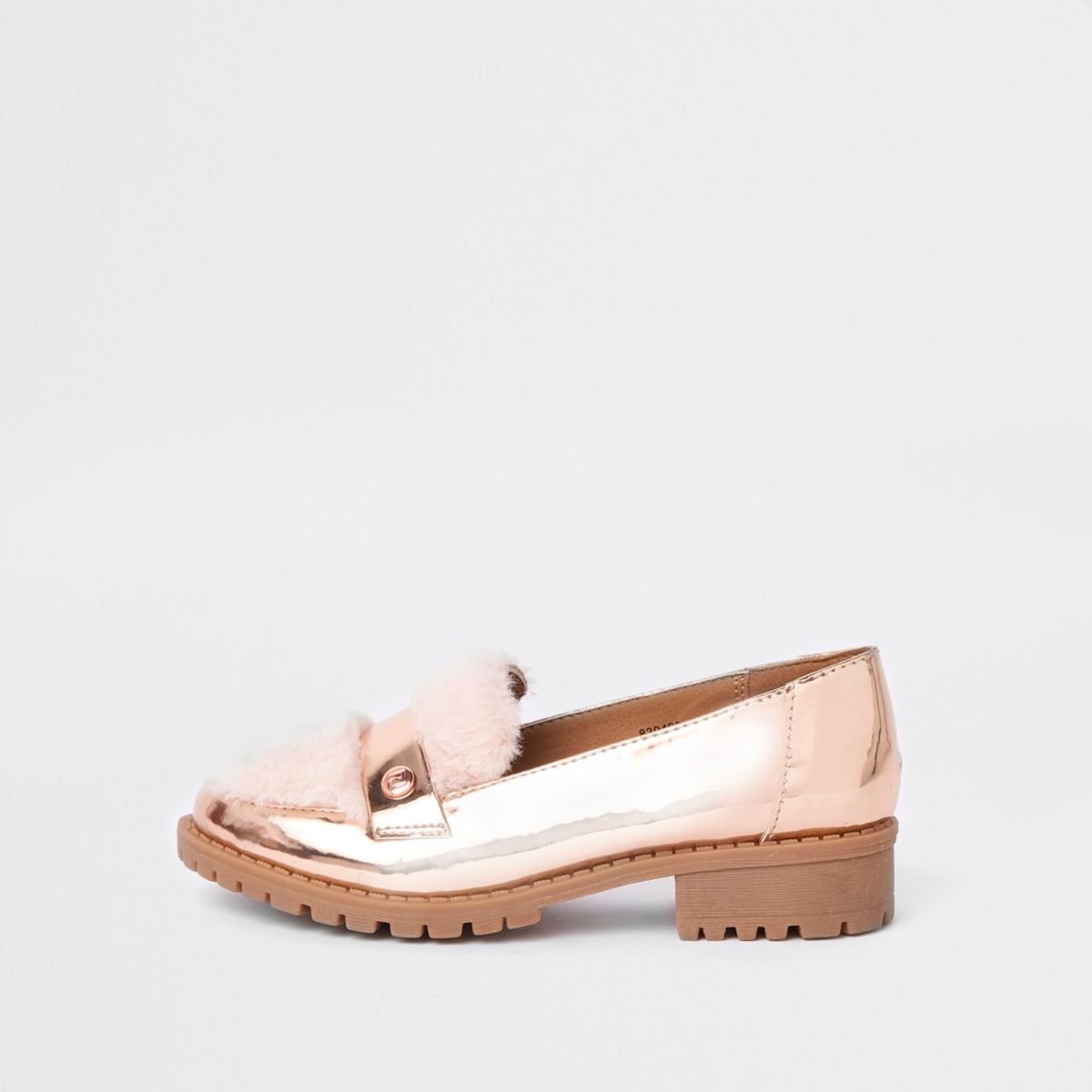 Pink patent faux fur loafers