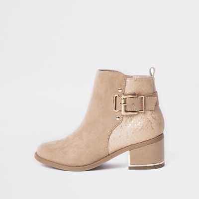 Girls Pink Buckle Heeled Boots by River Island
