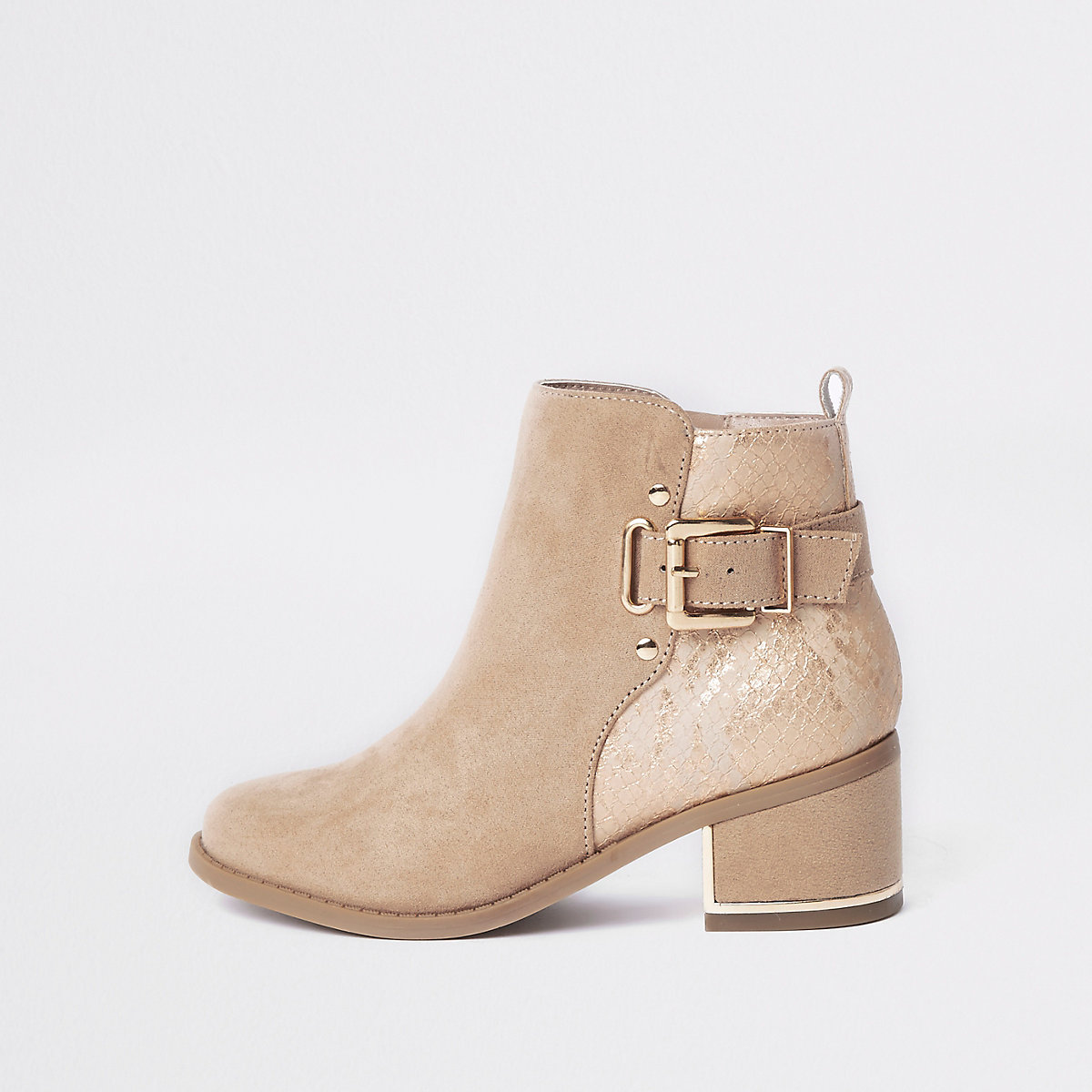 Girls pink buckle heeled boots