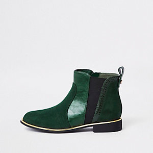 Girls green croc panel patent boots