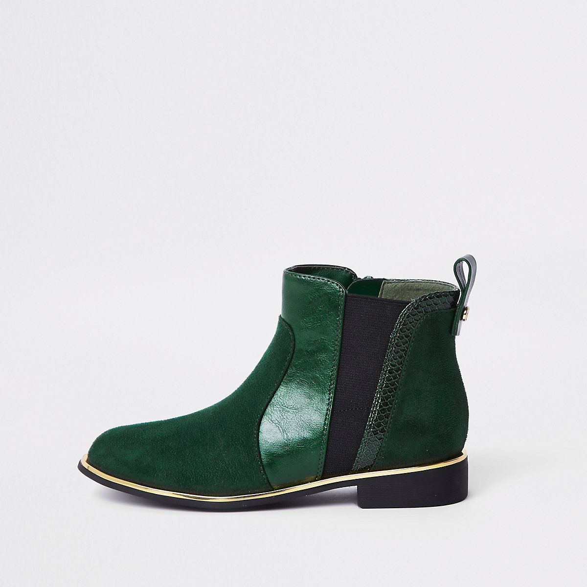 Girls green croc panel patent boots