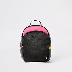 Rucksack in Schwarz und Pink mit RI-Monogramm