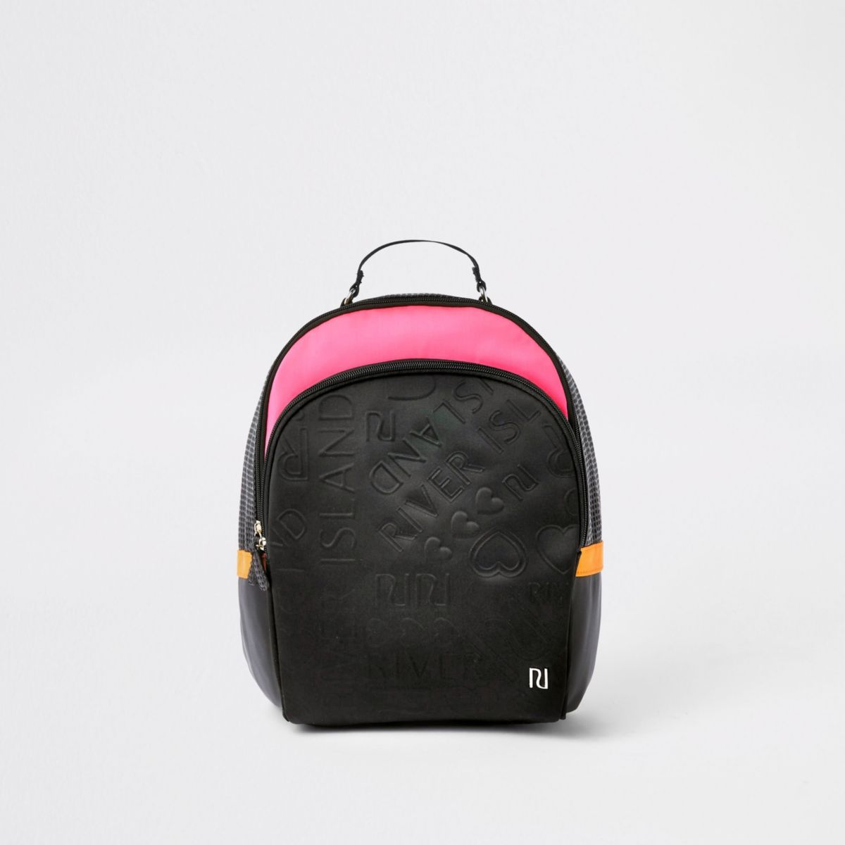 Girls black and pink RI monogram backpack