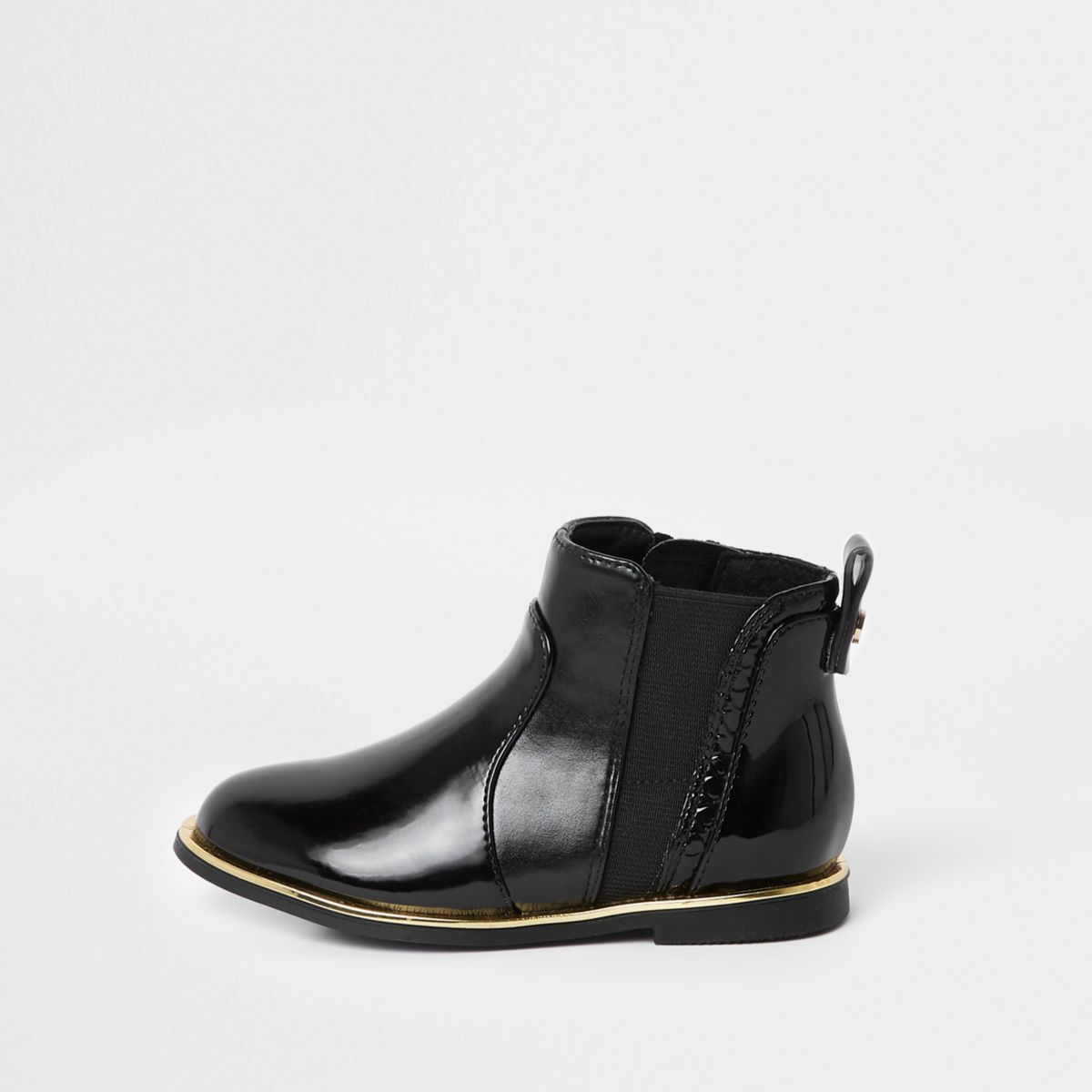 Mini girls black croc panel patent boots