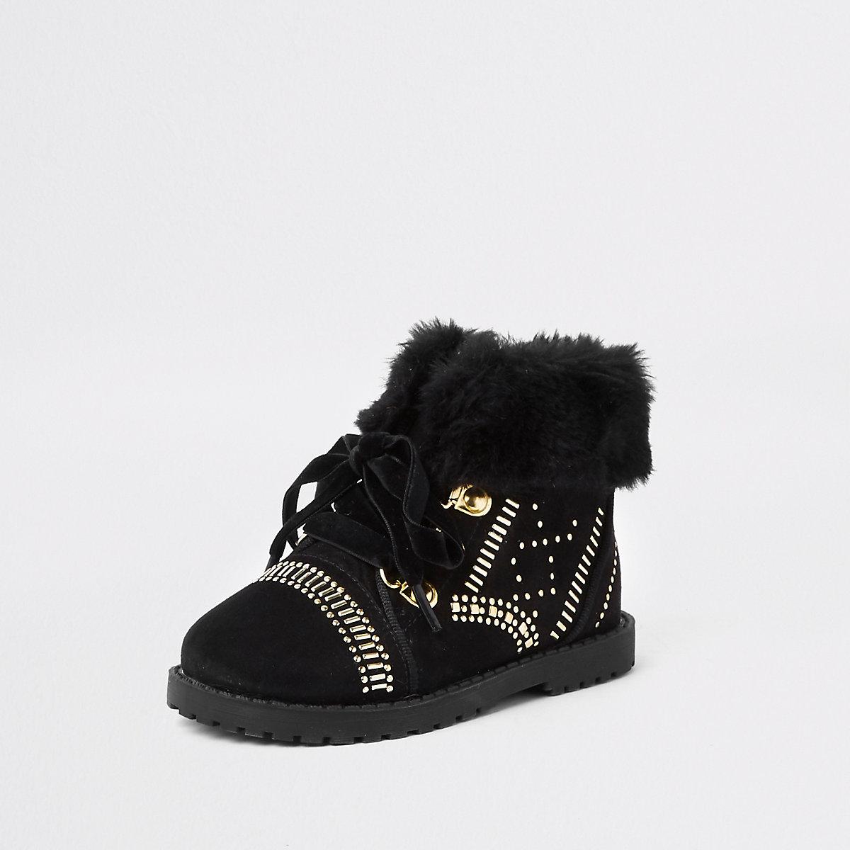 1543133becf86 RI 30 mini girls black faux fur studded boot - Baby Girls Boots ...