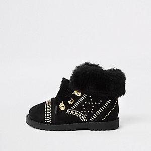 Mini - RI 30 - Zwarte laarzen met imitatiebont en studs voor meisjes