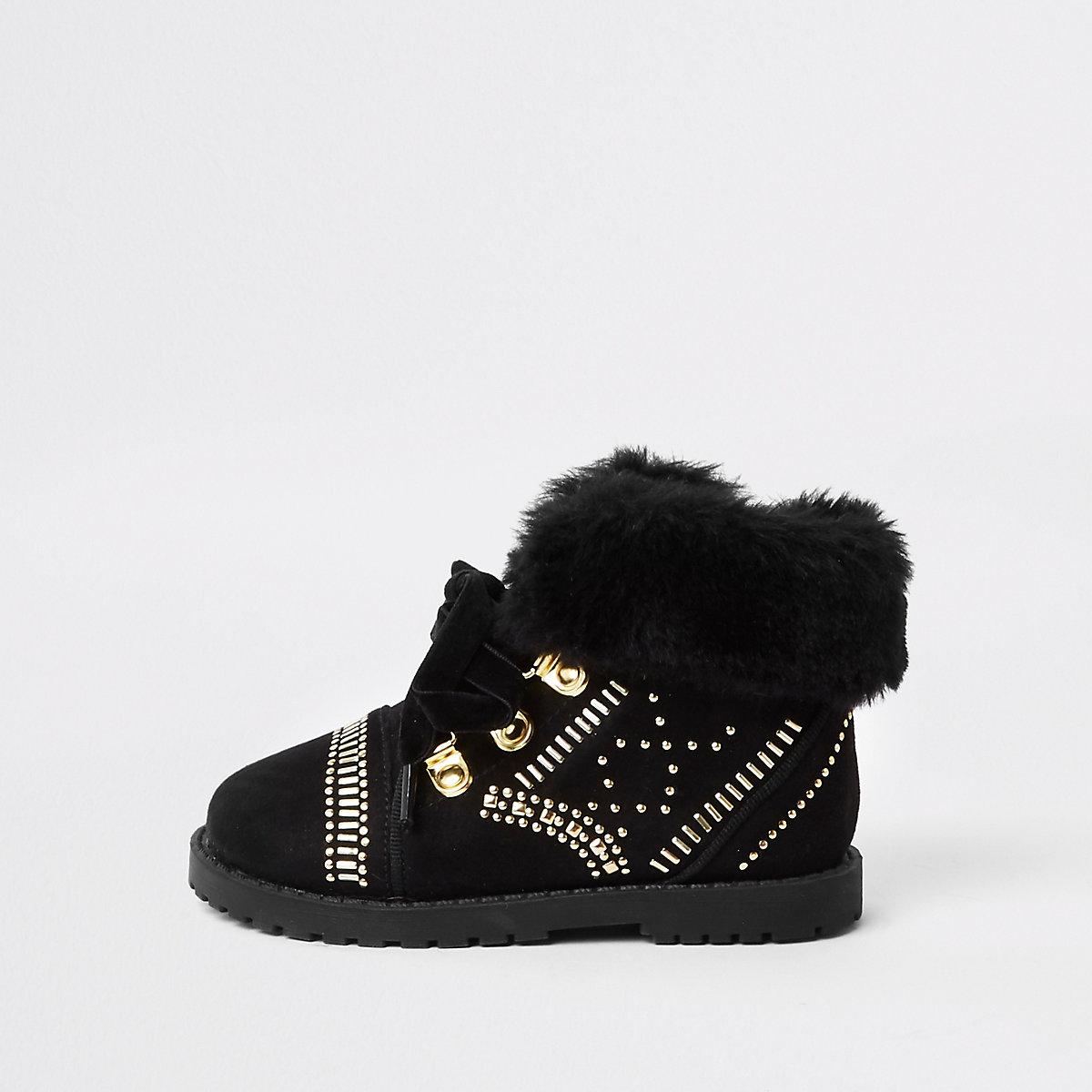 RI 30 mini girls black faux fur studded boot
