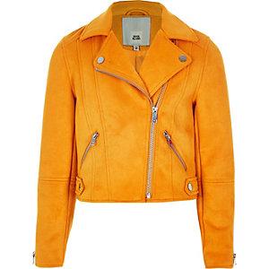 Girls yellow faux suede biker jacket
