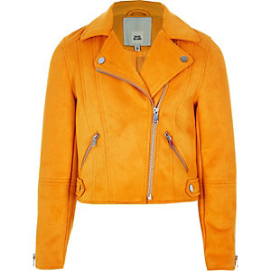Girls yellow faux suede biker jacket