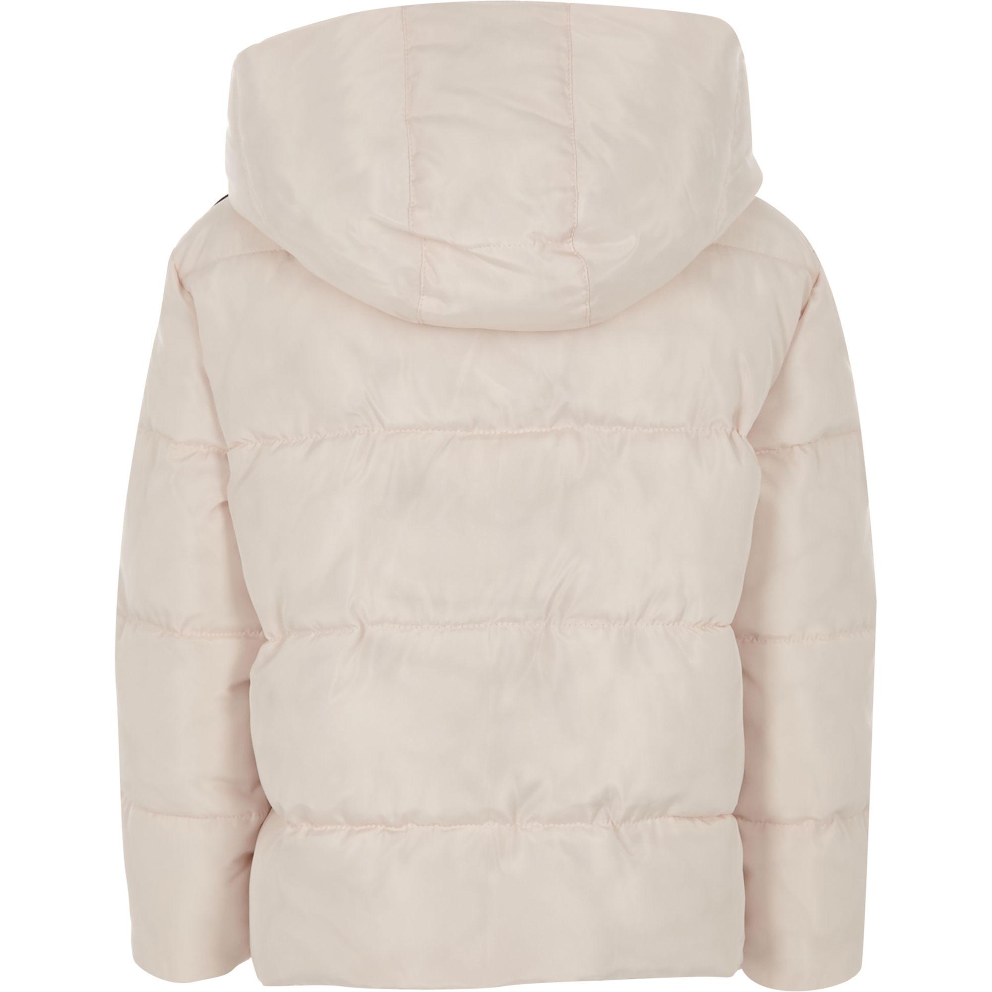 f205d41b0 River Island Girls pink RI tape hooded puffer jacket at £38 | love ...