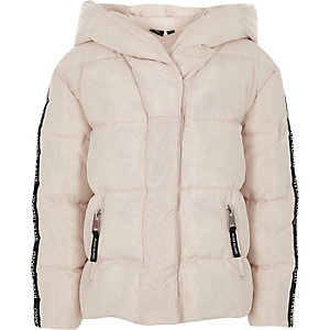 Girls pink RI tape hooded puffer jacket