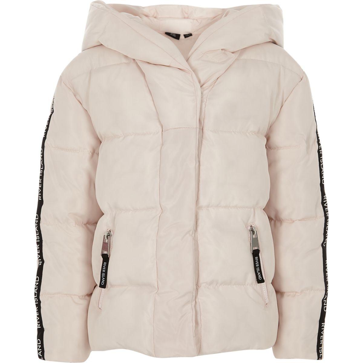 Girls pink RI tape hooded puffer jacket