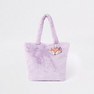 Girls purple faux fur shopper bag