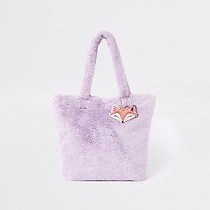 Cabas violet en fausse fourrure pour fille