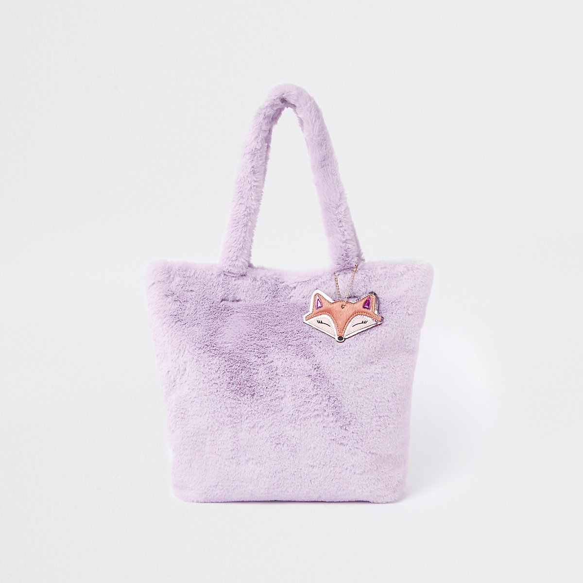 Girls purple faux fur shopper
