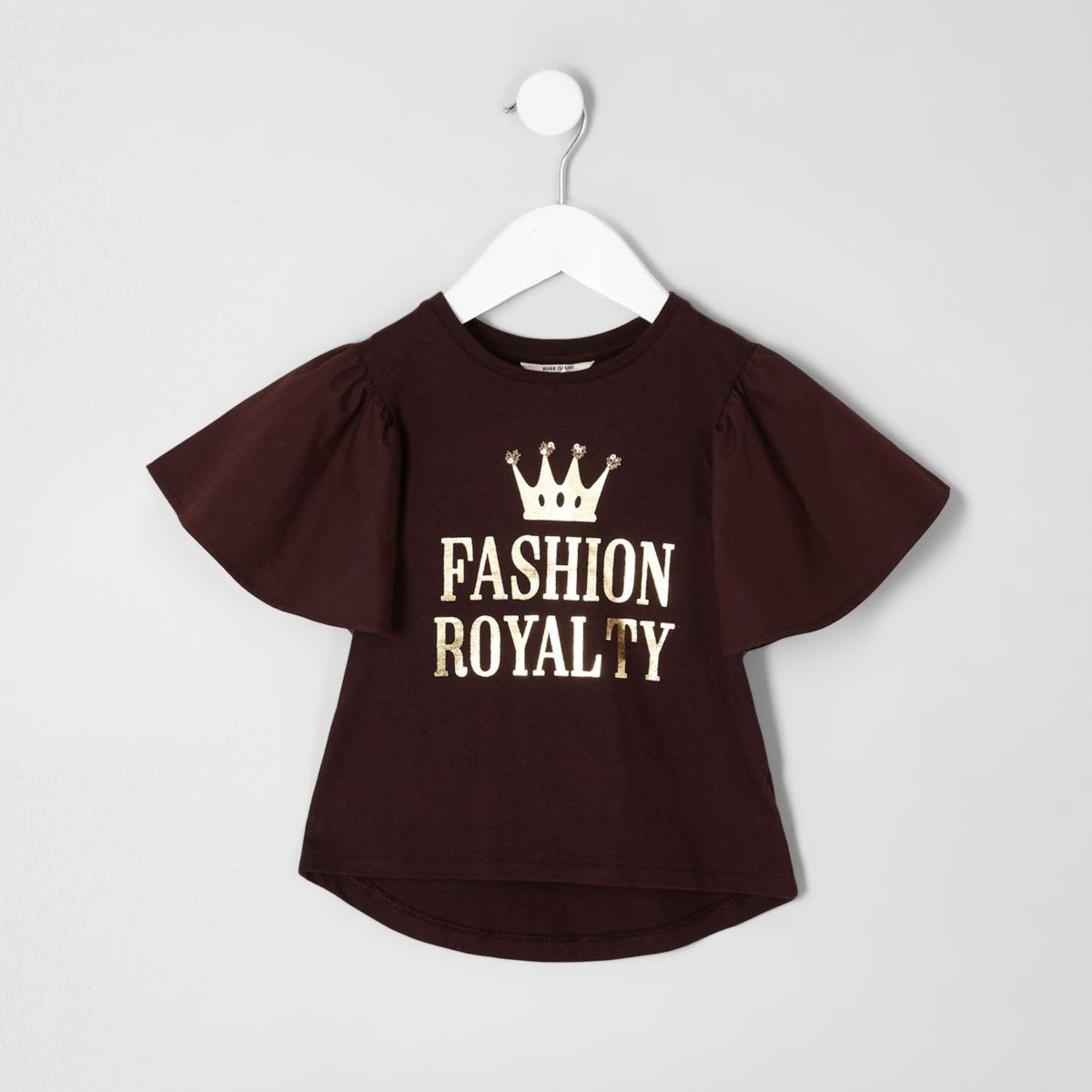 Mini girls purple frill sleeve T-shirt