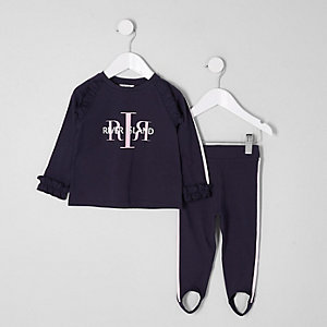 Mini girls navy RI top and leggings outfit