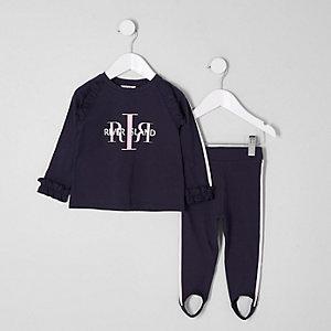 Mini - Outfit met marineblauwe RI-top en legging voor meisjes