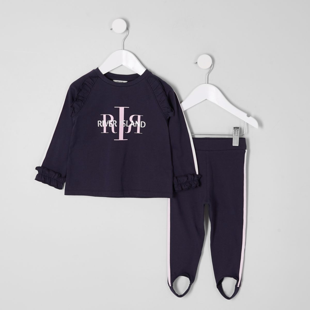 Mini girls navy RI top and leggings outfit