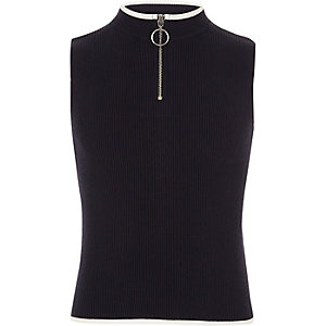 Girls navy rib knit zip neck tank top