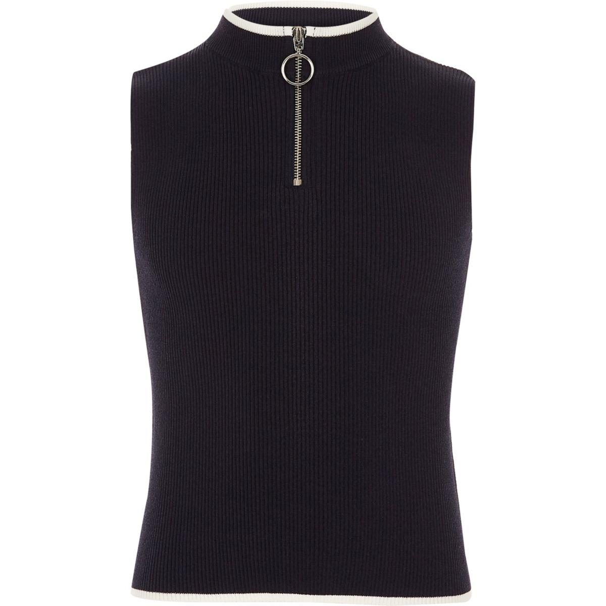 Girls navy rib knit zip neck tank top