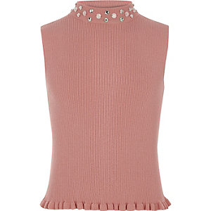 Girls pink rib knit embellished tank top