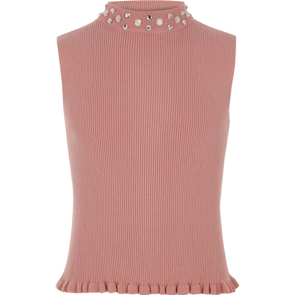 Girls pink rib knit embellished tank top