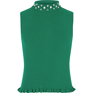 Groene tanktop met versierde halslijn voor meisjes