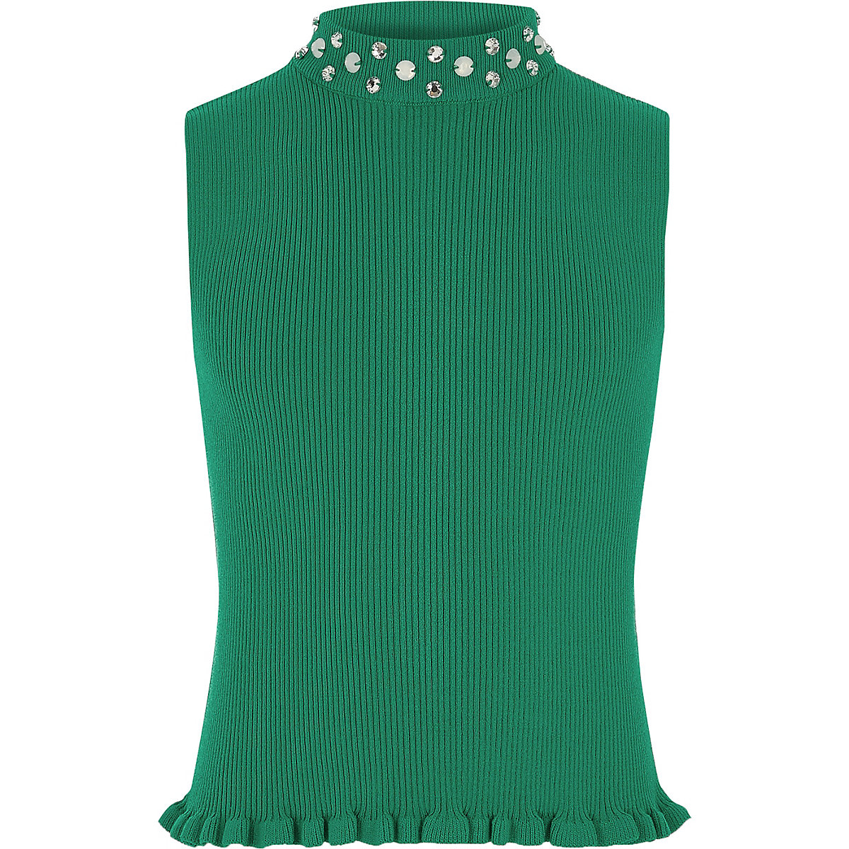 Girls green embellished neck tank top