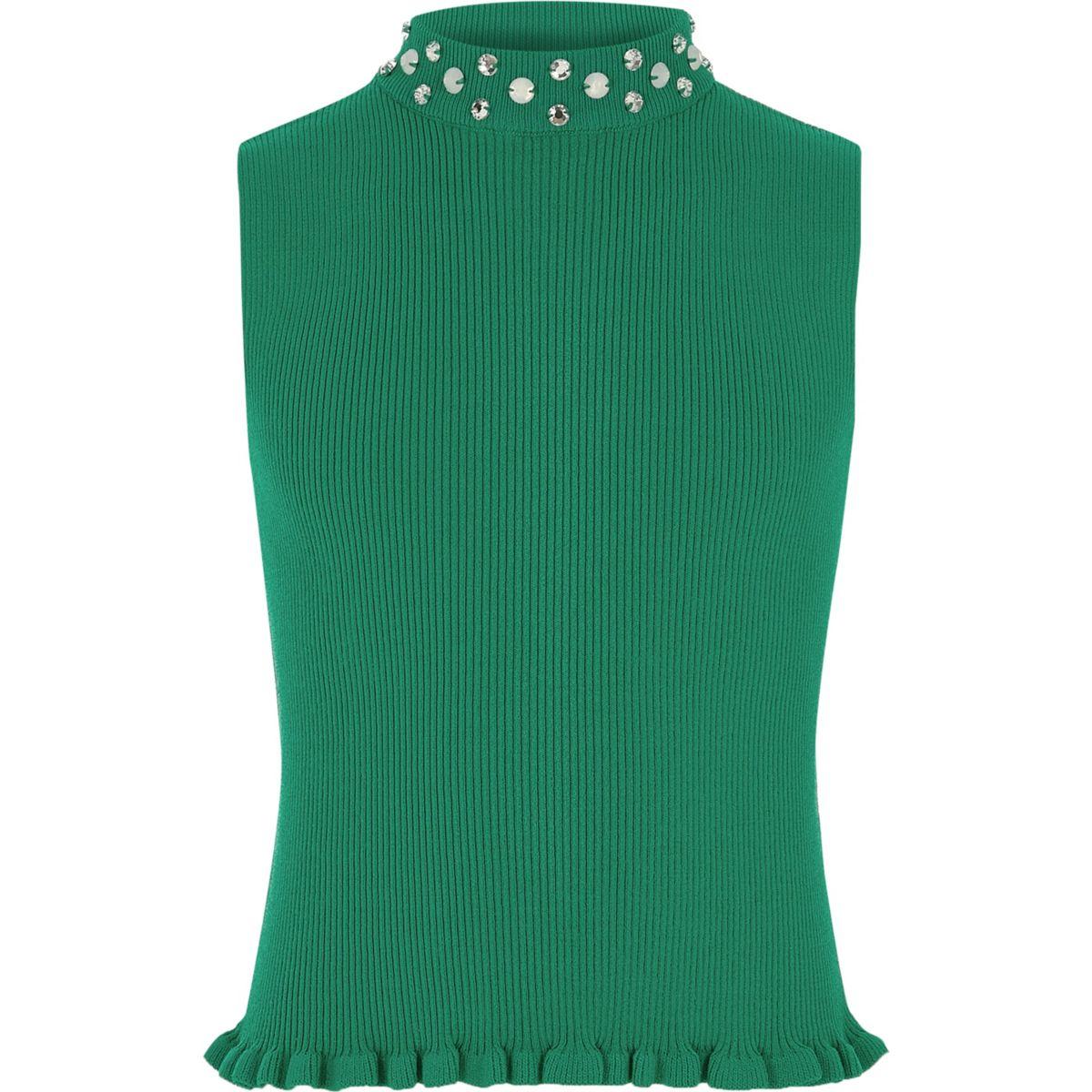 Girls green embellished neck tank top