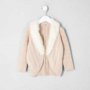 Mini girls beige cable knit faux fur cardigan