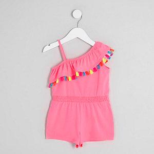 Mini girls bright pink one shoulder playsuit