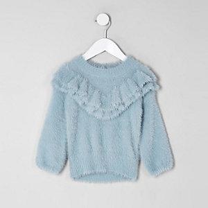 Blauer, flauschiger Pullover mit Rüschen