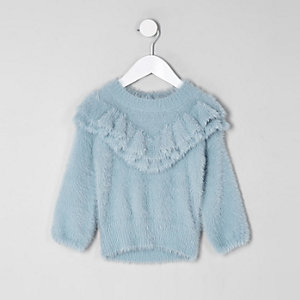 Pull duveteux bleu avec encolure à volants mini fille