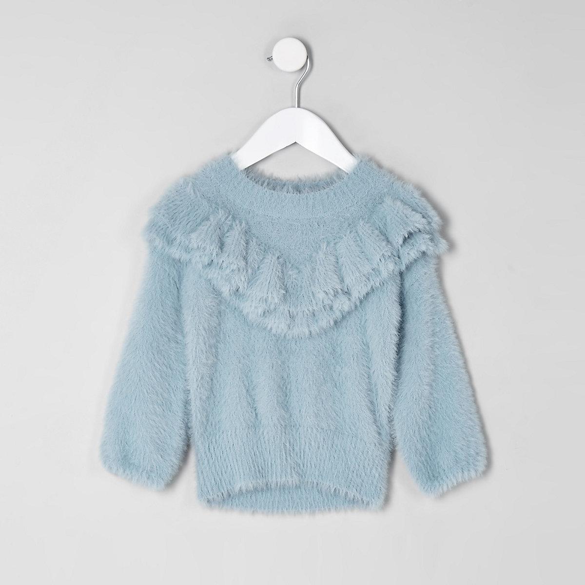 Mini girls blue fluffy ruffle neck jumper