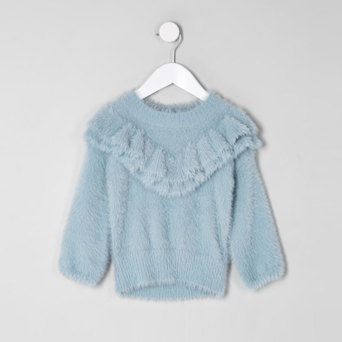 Mini girls blue fluffy ruffle neck sweater