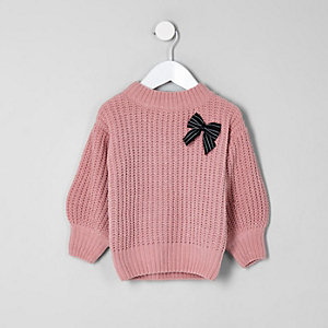 Mini girls balloon sleeve knit bow sweater