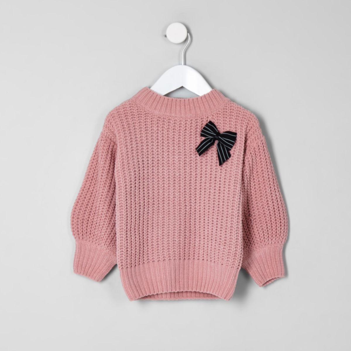 Mini girls balloon sleeve knit bow sweater