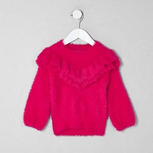 Pull en maille duveteuse rose à volants mini fille