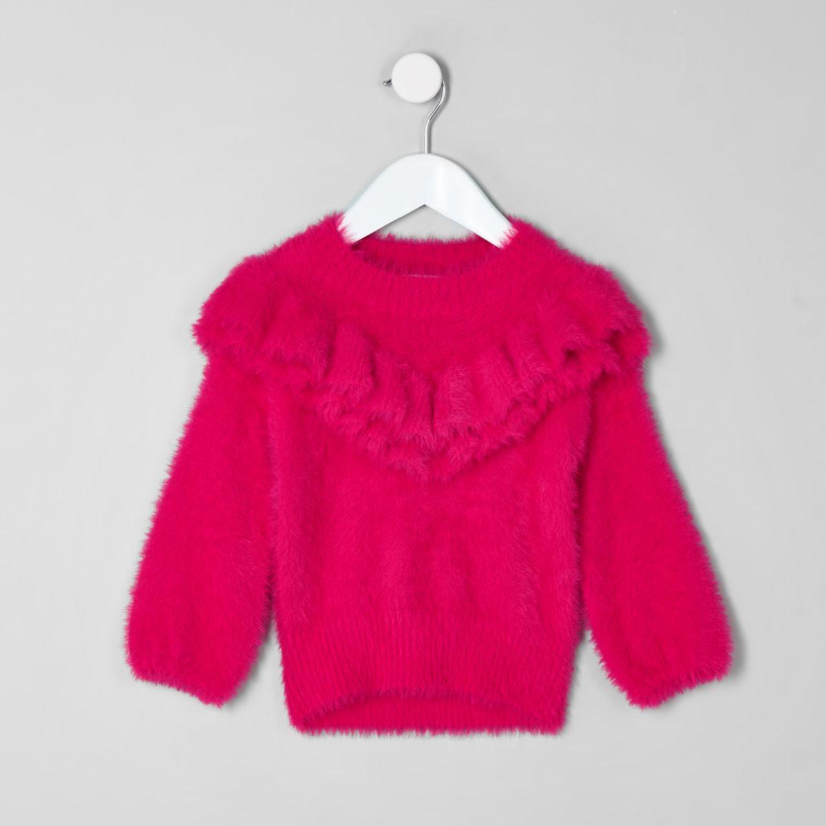 Mini girls pink frill fluffy knit jumper
