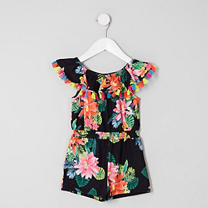 Mini girls black floral frill bardot romper