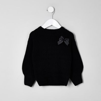 Mini Black Balloon Sleeve Knit Bow Jumper by River Island